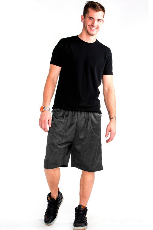 Mesh Shorts Front Charcoal Gray