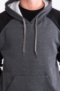 Two Tone Hoodie Accent Black Arm