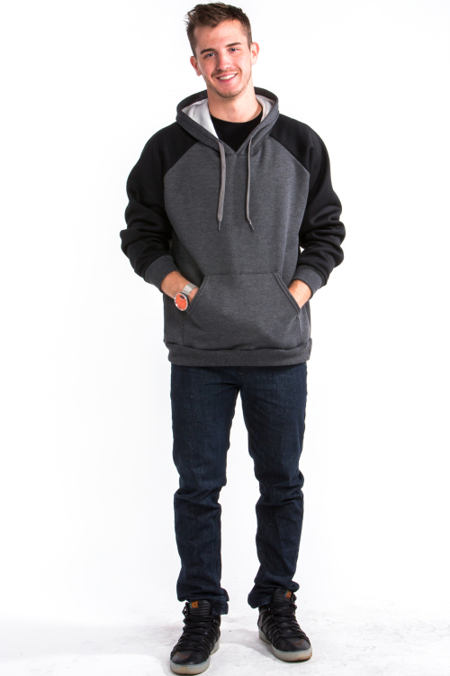 Two Tone Hoodie Front Black Arm