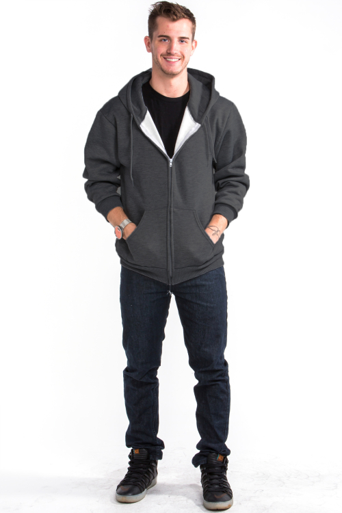 Zipper Hoodie Front Charcoal Gray