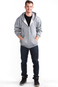Zipper Hoodie Front Heather Gray