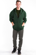 Zipper Hoodie Front Hunter Green