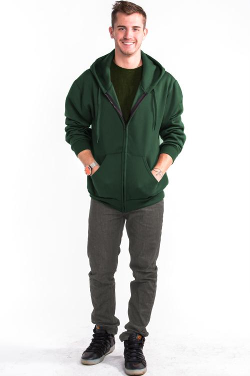 Zipper Hoodie Front Hunter Green
