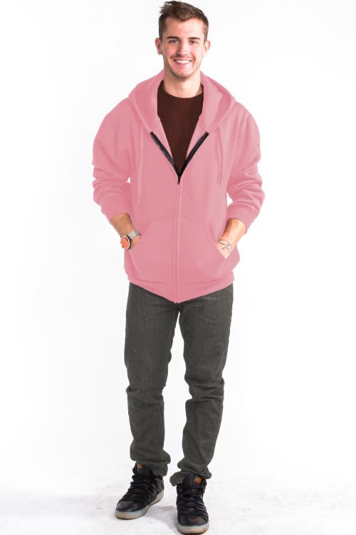 Zipper Hoodie Front Light Pink