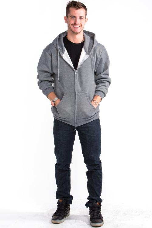 Zipper Hoodie Front Medium Gray