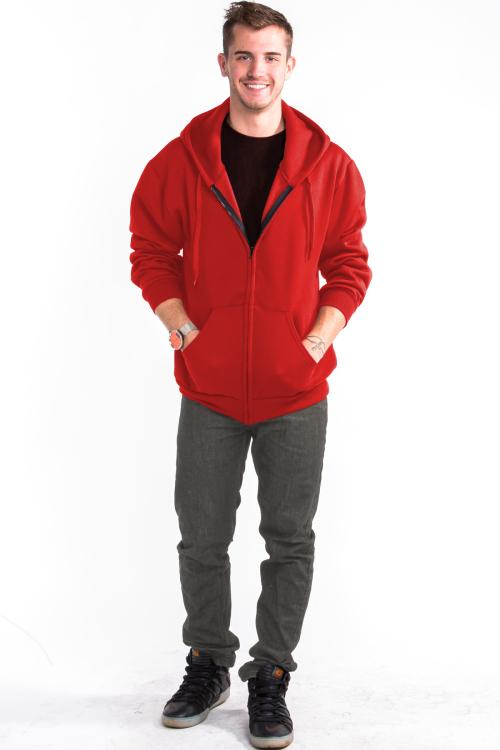 Zipper Hoodie Front Red
